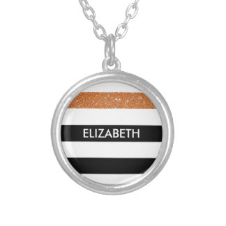 Modern Black Stripes FAUX Orange Glitz and Name Silver Plated Necklace