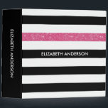 """Modern Black Stripes FAUX Pink Glitz and Name Binder<br><div class=""""desc"""">Personalize this modern wide horizontal black and white stripes pattern 2 inch binder with a hot pink glitter stripe by adding the name of any girly girl. This trendy graphic striped pattern is perfect for the chic fashionista. Flat printed image,  NOT actual glitter.</div>"""