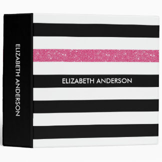 Modern Black Stripes FAUX Pink Glitz and Name Binder