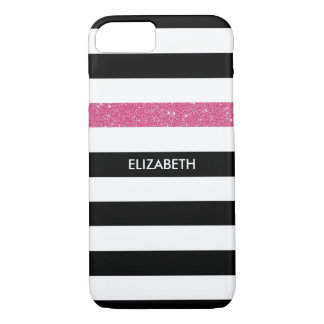 Modern Black Stripes FAUX Pink Glitz and Name iPhone 8/7 Case