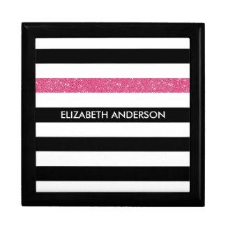 Modern Black Stripes FAUX Pink Glitz and Name Jewelry Box
