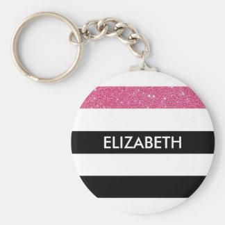 Modern Black Stripes FAUX Pink Glitz and Name Keychain