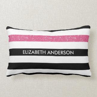 Modern Black Stripes FAUX Pink Glitz and Name Lumbar Pillow