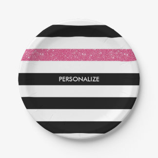 Modern Black Stripes FAUX Pink Glitz and Name Paper Plate
