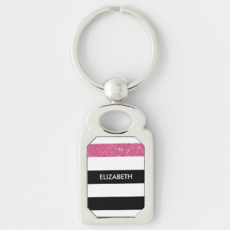 Modern Black Stripes FAUX Pink Glitz and Name Silver-Colored Rectangular Metal Keychain