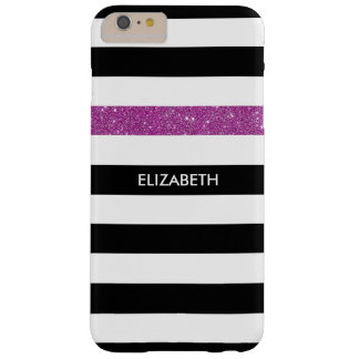Modern Black Stripes FAUX Purple Glitz and Name Barely There iPhone 6 Plus Case