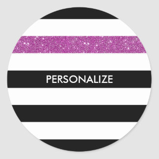 Modern Black Stripes FAUX Purple Glitz and Name Classic Round Sticker
