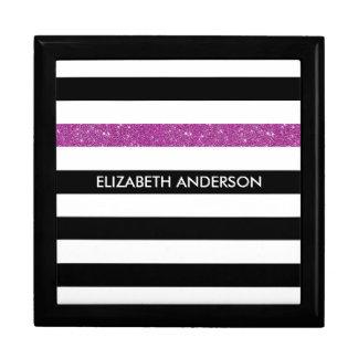 Modern Black Stripes FAUX Purple Glitz and Name Gift Box