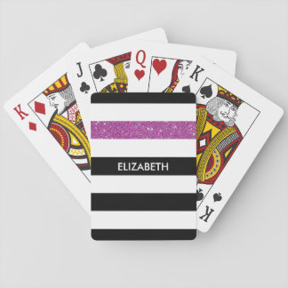 Modern Black Stripes FAUX Purple Glitz and Name Playing Cards