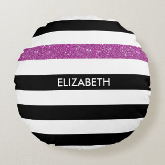 Modern Black Stripes FAUX Purple Glitz and Name Round Pillow