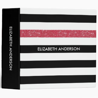 Modern Black Stripes FAUX Red Glitz and Name 3 Ring Binder