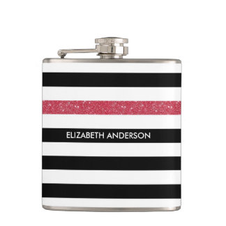 Modern Black Stripes FAUX Red Glitz and Name Flask