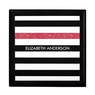 Modern Black Stripes FAUX Red Glitz and Name Gift Box