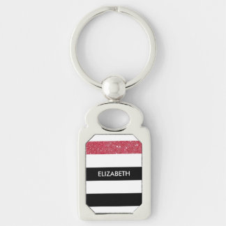 Modern Black Stripes FAUX Red Glitz and Name Silver-Colored Rectangular Metal Keychain