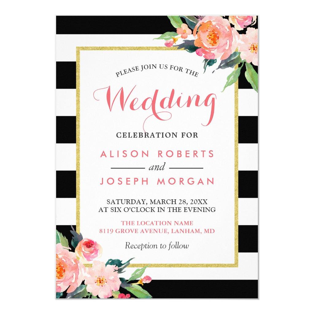 Modern Black Stripes Floral Wedding Celebration Card