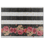 Modern black stripes gold faux glitter floral cutting board