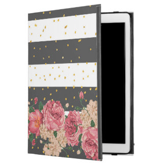 "Modern black stripes gold faux glitter floral iPad pro 12.9"" case"