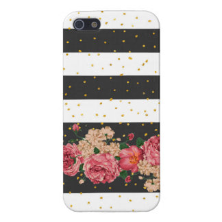 Modern black stripes gold faux glitter floral iPhone SE/5/5s cover