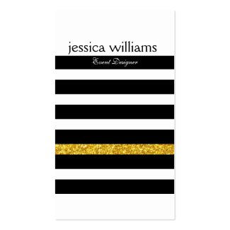 Modern Black Stripes Gold Glitter White background Double-Sided Standard Business Cards (Pack Of 100)