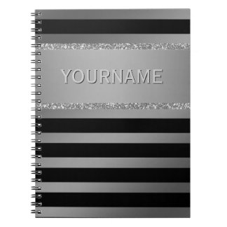 Modern Black Stripes Silver Glitter Personalized Spiral Notebook