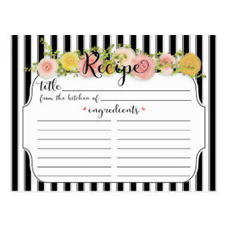 Modern Black Stripes with Roses Recipe Card