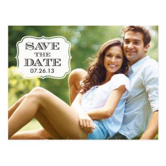 Modern Black Swirl Label Save the Date Photo Card