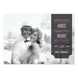 "Modern Black Tab Stylish Chic Photo Save The Date 5"" X 7"" Invitation Card"