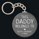 """Modern Black This Daddy Belongs To Father's Day Keychain<br><div class=""""desc"""">Personalized This Daddy Belongs To Father"""