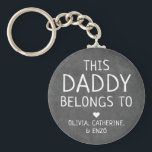 """Modern Black This Daddy Belongs To Father's Day Keychain<br><div class=""""desc"""">Personalized This Daddy Belongs To Father's Day Keychain Personalize it with the names of your kids.</div>"""