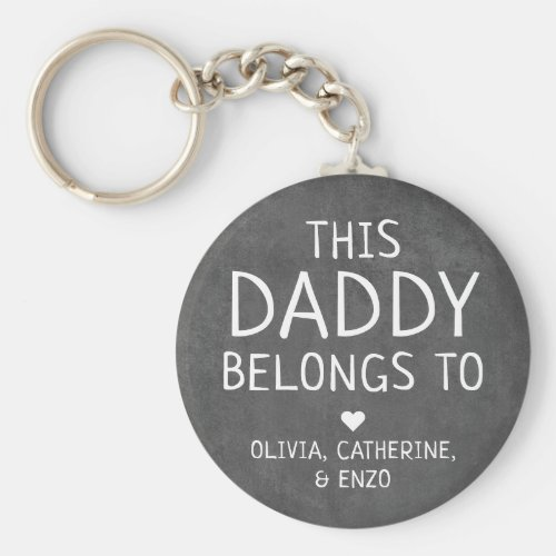 Modern Black This Daddy Belongs To Fathers Day Keychain