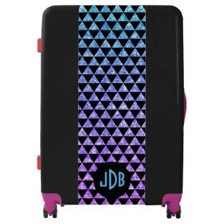 Modern Black Triangles & Purple & Blue Glitter Luggage