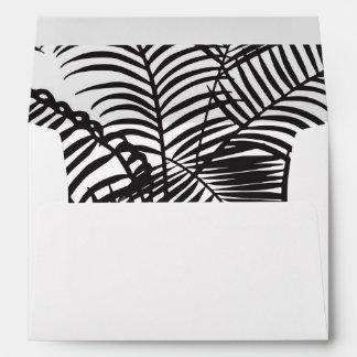 Modern black tropical palm trees pattern envelope