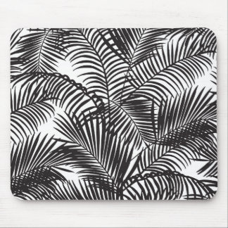 Modern black tropical palm trees pattern mouse pad