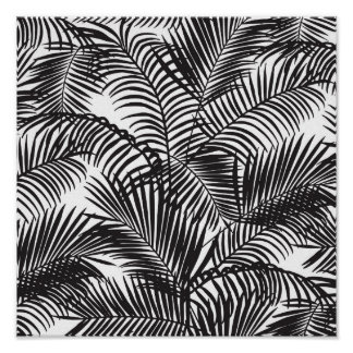 Modern black tropical palm trees pattern poster