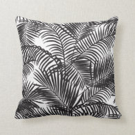 Modern black tropical palm trees pattern throw pillow