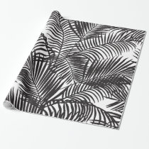 Modern black tropical palm trees pattern wrapping paper