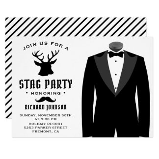 Modern Black Tuxedo Stag Bachelor Party Invitation