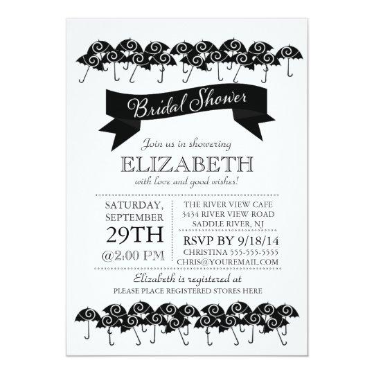 modern black umbrella bridal shower invitation