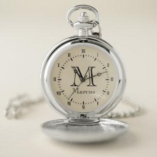 Modern Black & Vintage Beige with Custom Name Pocket Watch