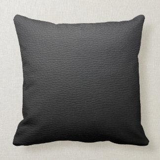 Modern Black Vintage Leather Texture Print Throw Pillow