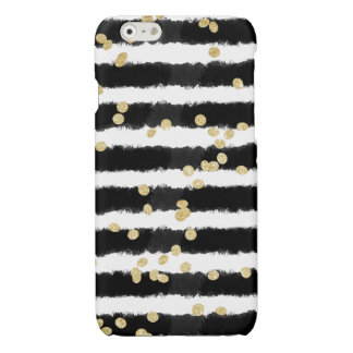 Modern black watercolor stripes chic gold confetti glossy iPhone 6 case