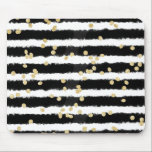 "Modern black watercolor stripes chic gold confetti mouse pad<br><div class=""desc"">A modern,  elegant and abstract black and white watercolor brushstrokes stripes pattern with modern and trendy faux gold glitter confetti pattern. A stylish and chic design.</div>"