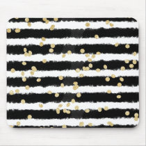 Modern black watercolor stripes chic gold confetti mouse pad
