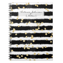 Modern black watercolor stripes chic gold confetti notebook