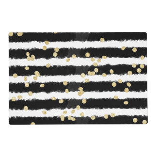 Modern black watercolor stripes chic gold confetti placemat