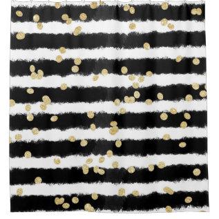 Modern Black Watercolor Stripes Chic Gold Confetti Shower Curtain at Zazzle