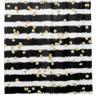 Modern black watercolor stripes chic gold confetti shower curtainShower Curtains   Zazzle. Black And Cream Shower Curtain. Home Design Ideas
