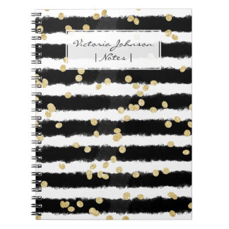 Modern black watercolor stripes chic gold confetti spiral notebook