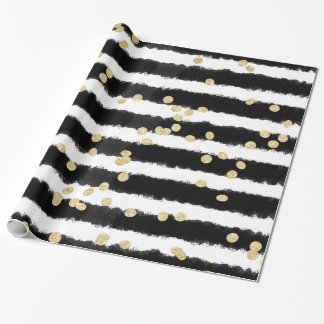 Modern black watercolor stripes chic gold confetti wrapping paper