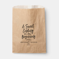 Modern Black Wedding a Sweet Ending Favor Bag